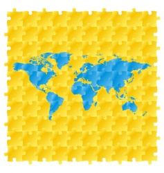 world maps with puzzle pattern vector image