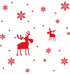 Abstract Red Moose and Snowflakes vector image vector image