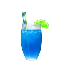 Blue cocktail with with slice of lime vector image vector image