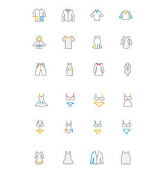 Clothes colored outline icons 1 vector