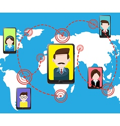 Communications smartphone tablet and people vector image vector image