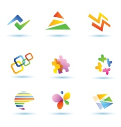 set of abstract icons logo templates vector image