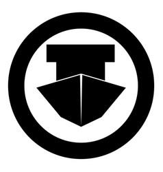 ship black icon in circle vector image vector image