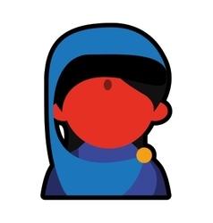Avatar face indian woman blue sari vector