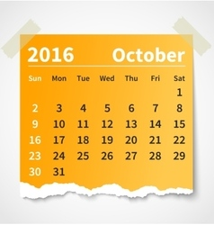 Calendar october 2016 colorful torn paper vector image vector image