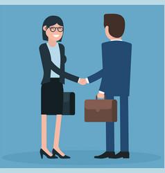 cartoon men and women shaking hands vector image