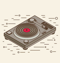 dj deck isometric flat vinyl player vector image
