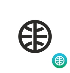 Earth globe simple black linear icon vector image