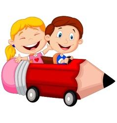 Happy children cartoon riding pencil car vector image vector image
