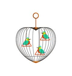 little colorful birds with long beaks on triangle vector image vector image