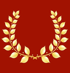 Gold laurel wreath on a red background vector image vector image