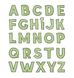 hand drawm cute green alphabet childish playful vector image