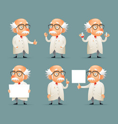 old scientist character icons set retro cartoon vector image