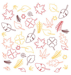 outline colorful leaves background vector image vector image