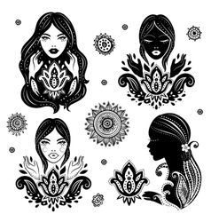 Set of beautiful girls in meditation with a vector image