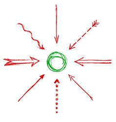 set of hand drawn arrows vector image vector image