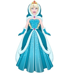 Snow Princess In Blue Dress Cloak And Hood vector image vector image