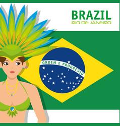 carnival rio garota card vector image