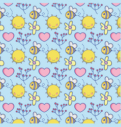 cute bee and nature pattern background vector image