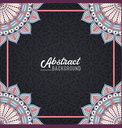 hand-drawn mandala on the watercolor background vector image