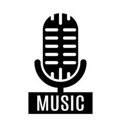 Minimalistic monochrome microphone logo vector