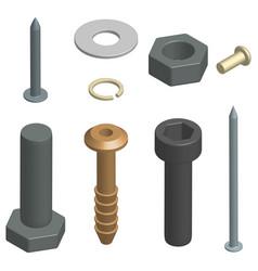Set of fasteners in 3d vector