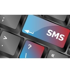 Social media key with sms text on laptop keyboard vector image vector image