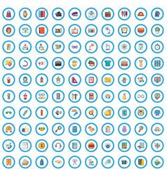 100 office clerk icons set cartoon style vector image