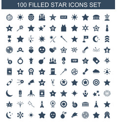 100 star icons vector