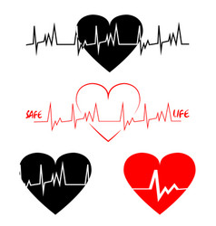 A set heart cardiogram black and red ecg line vector