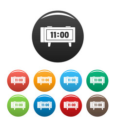 alarm clock retro icons set color vector image