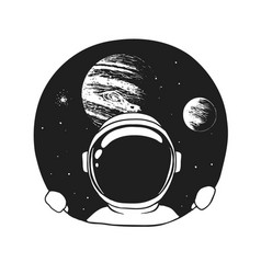 An astronaut looks out of a hole in space vector