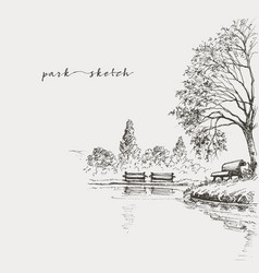 artistic park sketch bench and lake vector image