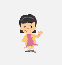 Asian girl waving with a dreamy expression vector