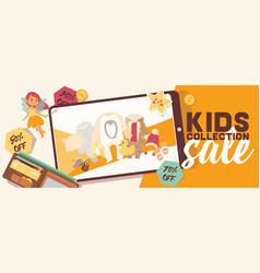 Baby shop shopping sale of cartoon kids toys vector
