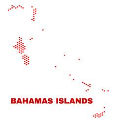 bahamas islands map - mosaic of valentine hearts vector image