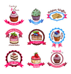 bakery or pastry dessert cakes sketch icons vector image