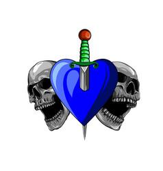 beautiful romantic skulls with sword and elegant vector image