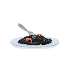 black pasta with shrimps on a white plate with vector image