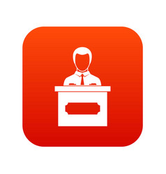 businessman giving presentation icon digital red vector image