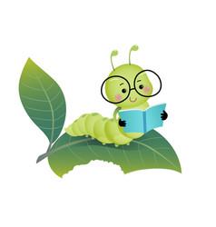 cartoon caterpillar reading a book vector image