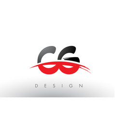 Cg c g brush logo letters with red and black vector