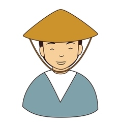 Chinese farmer man icon vector
