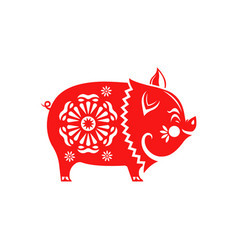 chinese new year 2019 red paper cut pig isolated vector image