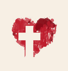 Christian cross in abstract red heart inside vector