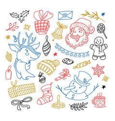 christmas doodle set - santa reindeer and snowman vector image