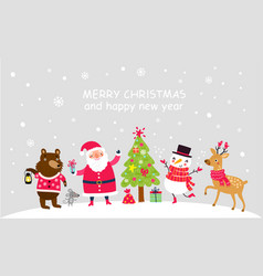 christmas poster with santa and cute characters vector image