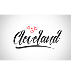 Cleveland city design typography with red heart vector