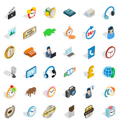 Clock icons set isometric style vector