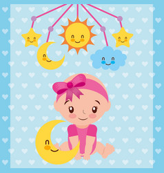 Cute baby girl sitting with star and crib mobile vector